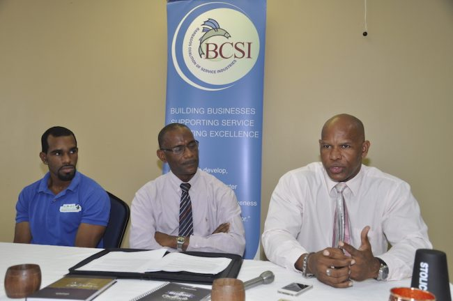 From left: Former student and manager of the Art of Bartending Training Seminars, Quantao Parris; Executive Director of the BCSI Graham Clarke; and founder of the Bajan Association of Rum Shops, Franklyn Parris.