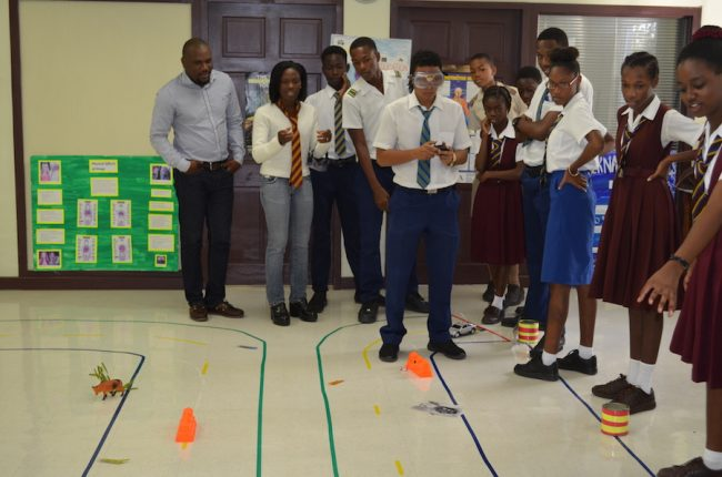 Programme Officer at the NCSA Paulavette Atkinson (second from left) engaging students in an educational activity during an Open Day session.