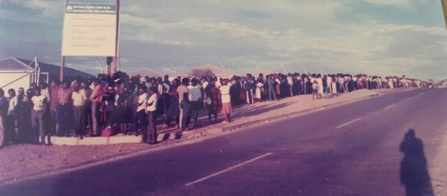 Carrington provided security in the 1989 Namibian elections. Here, thousands of voters queue to vote.