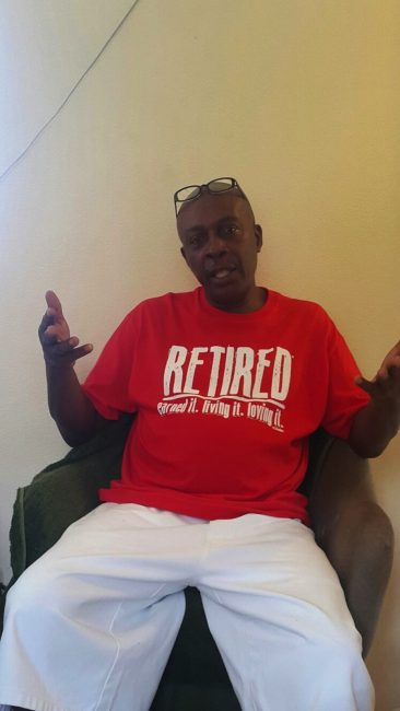 Kenneth 'Tony' Carrington relaxing after 39 years of service with the Royal Barbados Police Force.