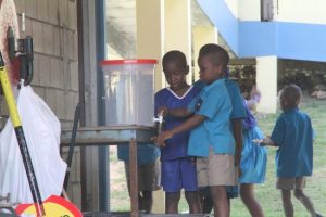 There were no classes at the St Joseph Primary  this morning due to the ongoing water problems.