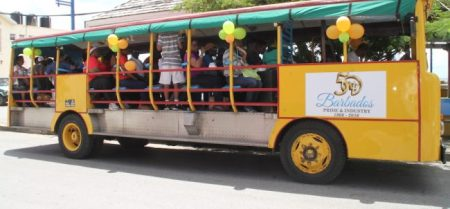 Members of the Small Business Association on their way to Speightstown.