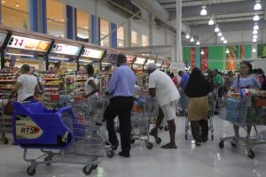 Long lines greeted customers at Massy Stores, Warrens.