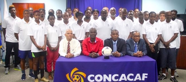 Participants of the CONCACAF D Licence Course standing behind (from left, seated) chairman of the BFA technical committee, Adrian Donovan, BFA general secretary Edwyn Wood, instructors Lenny Lake and Vin Blaine. (Picture by Morissa Lindsay).