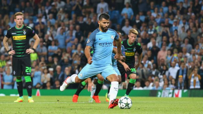 Sergio Aguero (in blue) scored twice for City today.