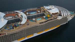 The cruise ship features a ten-storey water slide and 23 swimming pools.
