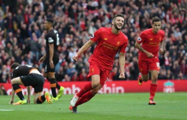 Britain Football Soccer - Liverpool v Hull City - Premier League - Anfield - 24/9/16 Liverpool's Adam Lallana celebrates scoring their first goal  Reuters / Eddie Keogh Livepic