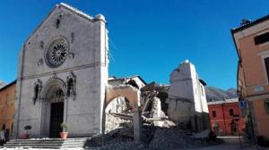 A view of the facade of the San Benedetto Basilica, in Norcia, central Italy, after an earthquake with a preliminary magnitude of 6.6 struck central Italy, Sunday.