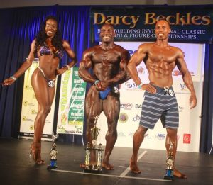 Barbados' champions (from left) Shakira Doughlin won Women's Bikini Fitness and Overall, Stevenson Belle, winner of the Darcy Beckles Bodybuilding Classic and Hadley Hoyte, Men's Physique winner.