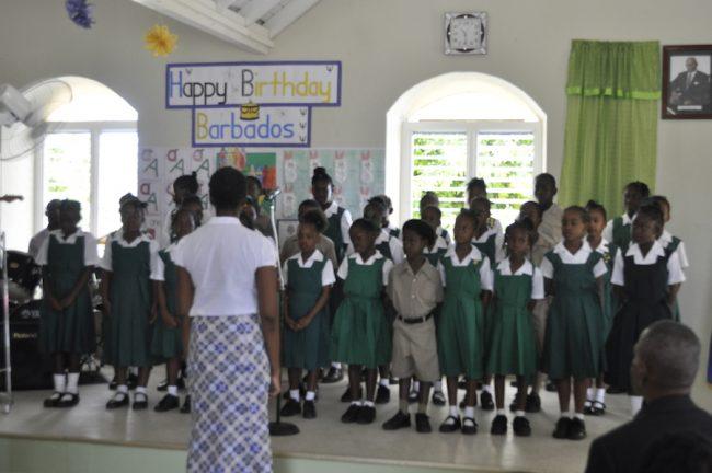 The school choir singing Beautiful Barbados.