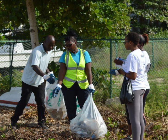 Volunteers at work.