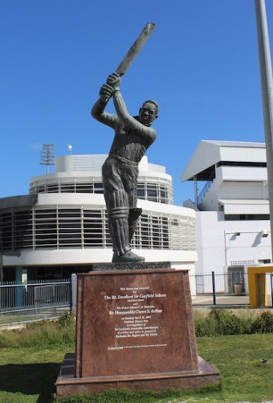 One of the island's newest monuments just outside the famous Kensington Oval, a statue of cricket legend Sir Garfield Sobers.