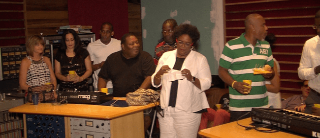 Opposition leader Mia Mottley (centre) was among dee-jay's and others attending the launch.