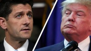Speaker Paul Ryan, left, and Presidential candidate Donald Trump.