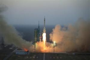 The Long March-2F takes off, with the Chinese spacecraft Shenzhou 11 on board, from the launch platform in Jiuquan in western China.