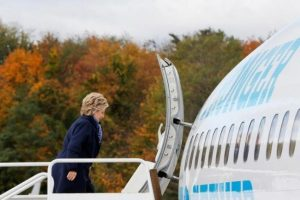 US Democratic presidential nominee Hillary Clinton boards her campaign plane in White Plains, New York.