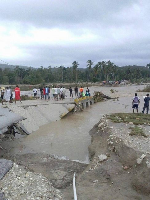 Bridge between Aquin and Cote de Fer in Haiti, after Hurricane Matthew. Photo: Jacqueline Charles