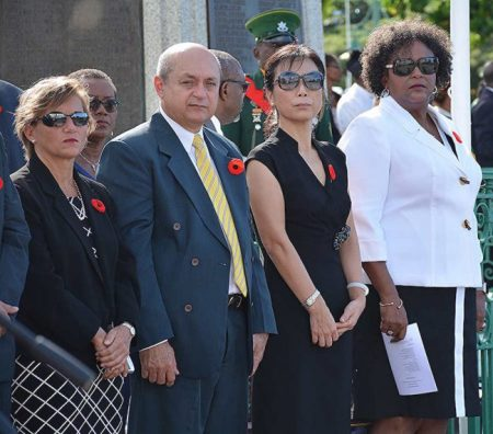 Opposition Leader Mia Mottley (right) and members of the diplomatic corps.