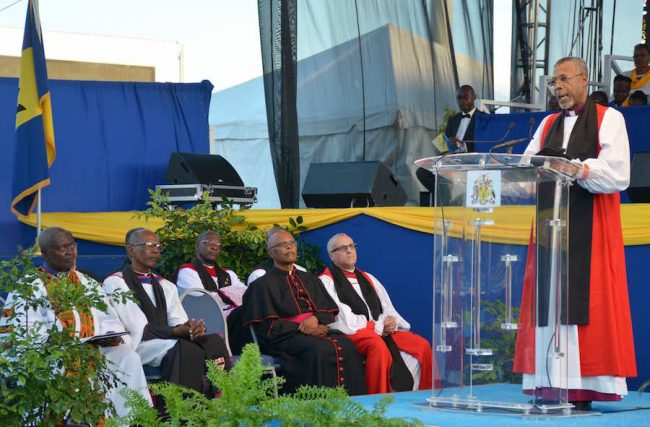 Archbishop Dr John Holder delivering the sermon yesterday.