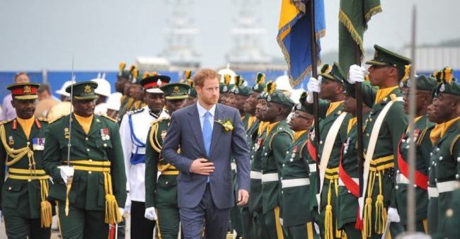 Prince Harry inspecting the guard of honour on arrival here this morning.