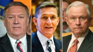 And the nominees are Mike Pompeo - CIA director (left), Michael Flynn - national security advisor (centre) and Jeff Sessions - attorney general