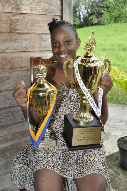Yahandje Daniel  with her trophies.