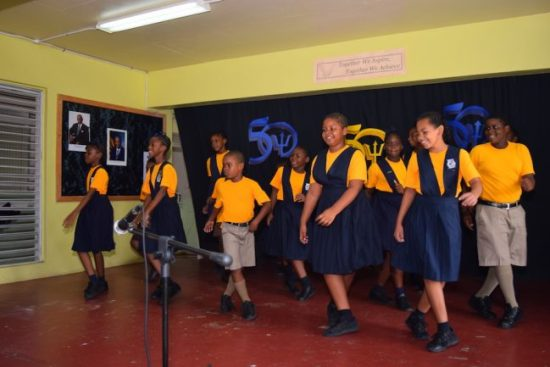 Students entertained the Prime Minister with a well choreographed dance to Biggie irie's 'Money well spent'.