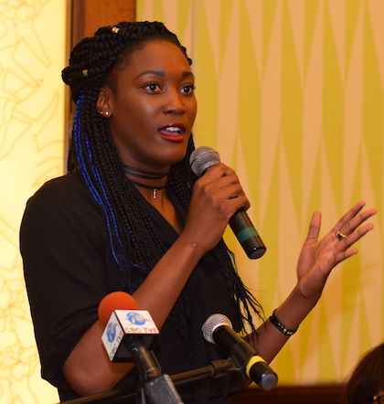 Olympian Akela Jones delivering her speech.