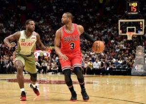 Dwyane Wade's (right) first game in Miami after being traded to Chicago ended in a win for the Bulls.