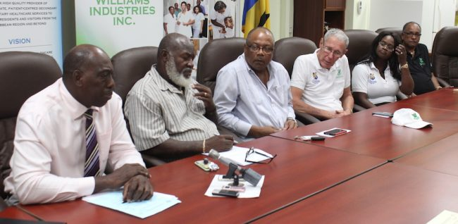 Hospital officials including CEO Dr Dexter James (left) and Minister of Health John Boyce (centre) with philanthropists Ralph Bizzy Williams (second from right) and his wife Shelly.