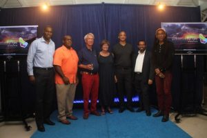 From left: Vilmore Johnson of Starcom Network, JetBlue Barbados General Manager Terry Layne, owner of Apes Hill Club Sir Charles Williams, US Ambassador to Barbados Linda Taglialatela, organizer of the show Michael Aiken, Neville Boxhill of the BTMI, and Adissa Andwele.