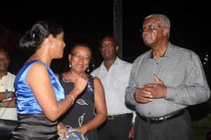 Prime Minister Freundel Stuart in conversation  with Maxine McClean and Dr Esther Byer-Suckoo.