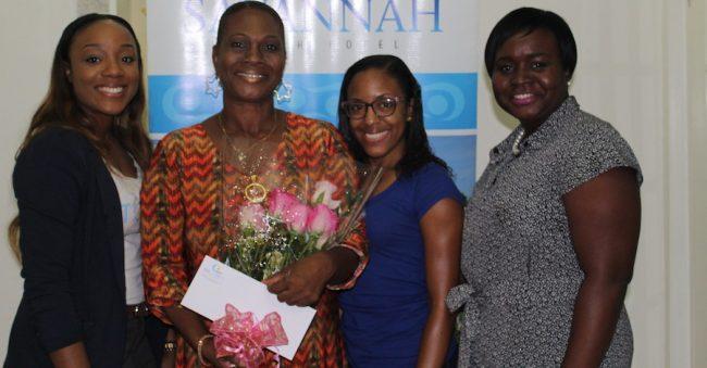 Rabiah Butcher, marketing executive at Barbados TODAY; Barbados TODAY accounts executive Tamesha Doughty; cancer survivor Shorma James; and Tricia Greaves, general manager of Savannah Hotel.