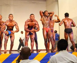Mr Schoolboy 2016 Laslo Bryon (second left) flexed his muscle to impress the judges and take the title ahead of Reemar Butcher of Daryll Jordan. (Pictures by Morissa Lindsay)