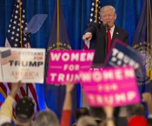 Republican presidential candidate Donald Trump acknowledges supporters during a campaign rally Friday.