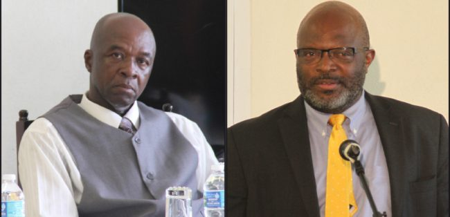 President of the Barbados Prison Officers Association Trevor Browne & Attorney General Adriel Brathwaite