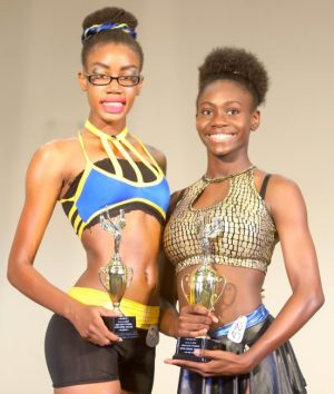 (From left) Cya Layne of Harrison College was second in the girls 12-15 fitness won by Adeyah Brewster of Alexandra School.