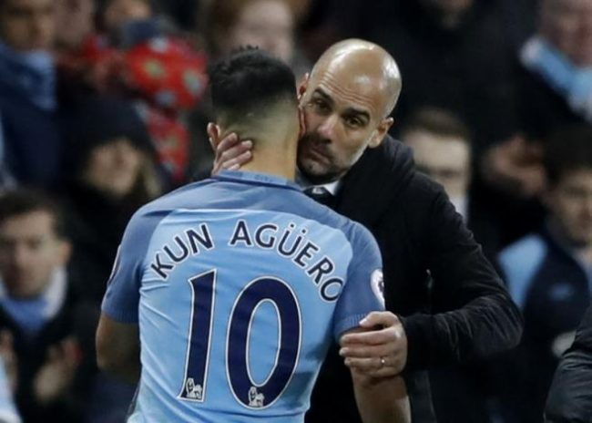 Britain Football Soccer - Manchester City v Middlesbrough - Premier League - Etihad Stadium - 5/11/16 Manchester City's Sergio Aguero with Manchester City manager Pep Guardiola as he is substituted Action Images via Reuters / Carl Recine