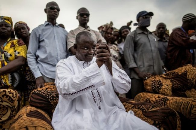 Gambian President-elect Adama Barrow greets supporters.