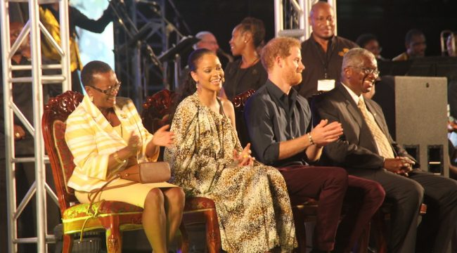 From left, Minister of Foreign Affairs Maxine McClean, international star Rihanna, Prince Harry and Prime Minister Freundel Stuart.