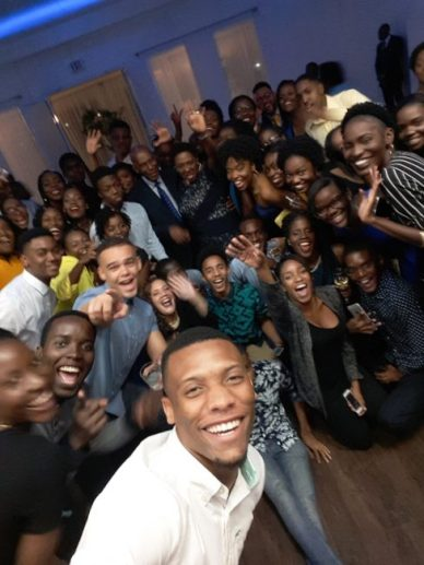 Barbadian students taking a selfie.