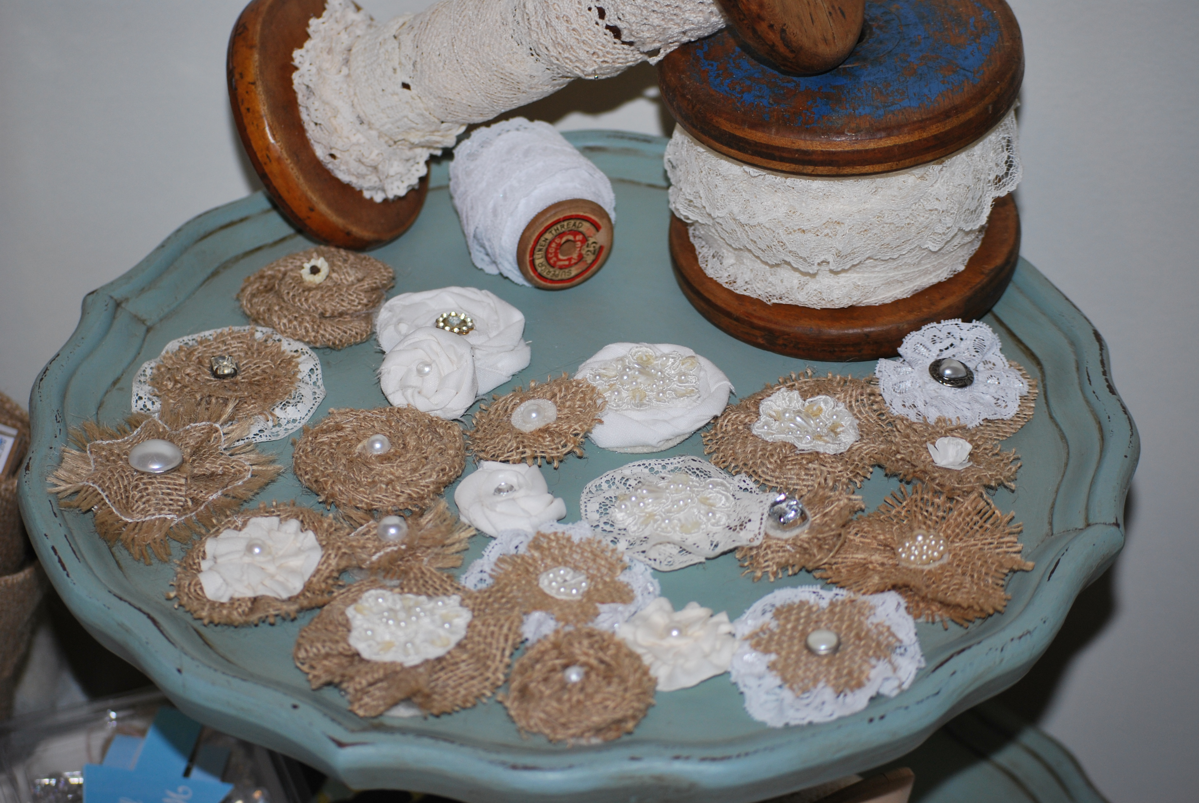 burlap and lace rosettes