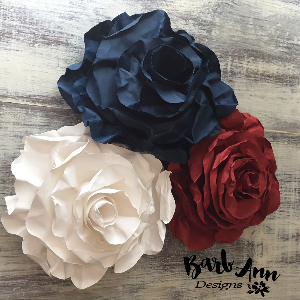 red white blue rolled rose WM