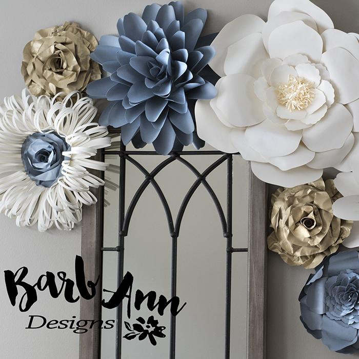 Gray Gold Amp Cream Paper Flower Set Barb Ann Designs