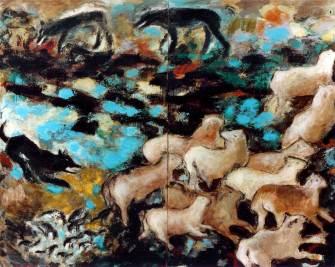 Auf der Weide, 1987, 220x280cm, Erde Pigment auf Leinwand