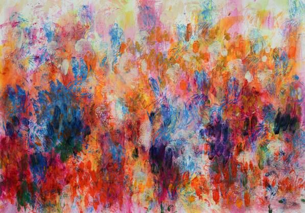 Blütenfeld 2, 2016, 50x70cm, Acryl auf Papier