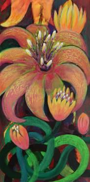 Blütenzauber 1, 2014, 100x50cm, Mischtechnik auf Leinwand