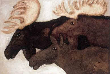 Elche, 2001, 135x195cm, Mischtechnik auf Leinwand
