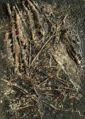 Erdbrannt 4, 1999, Erde-Steine Stroh Pigment auf Karton