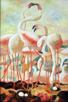 Flamingos, 2010, 90x60cm, Oel auf Leinwand